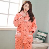 珊瑚绒中老年女士冬季可爱三层加厚夹棉睡衣家居服套装保暖韩版 图片色