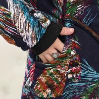 妈妈装冬装棉衣加绒加厚中老年女装外套中长款连帽中年40-50jyl 花色2 6XL建议170-185斤