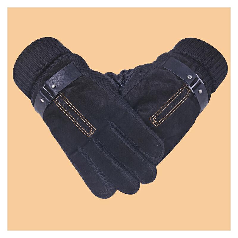 手套男士冬天骑行摩托车皮手套男冬季保暖加厚骑车户外棉手套防寒