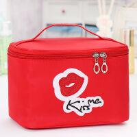 化妆包大容量手提化妆箱大小号可爱少女简约便携韩国方包收纳盒品 亮片红唇红色