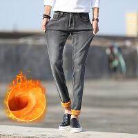 冬季新款男士牛仔裤弹力修身小脚裤青少年韩版潮流加绒加厚长裤子