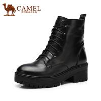 camel骆驼女靴 冬季新款时尚英伦高跟休闲中筒靴马丁靴