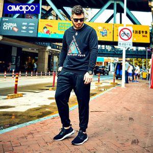 【限时抢购到手价:90元】AMAPO潮牌大码男装加肥加大宽松胖子肥佬T恤圆领套头长袖卫衣男潮