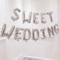结婚婚庆用品铝膜英文字母气球婚房装饰浪漫婚礼派对布置铝箔气球 仿美字母sweet wedding(银)