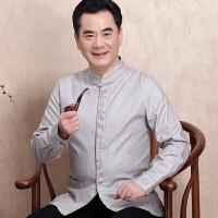 中老年唐装外套男中国风棉麻民族风男装长袖外套复古春秋亚麻上衣