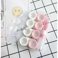 新款简约4副装彩色双联盒透明隐形近视眼镜盒伴侣盒 护理收纳盒