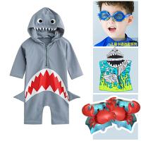 潮儿童泳衣连体鲨鱼可爱男女童小中童宝宝防晒游泳衣泳裤套装