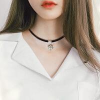 脖子饰品颈带 项链女短款韩国简约锁骨链百搭皮绳颈链 choker项圈