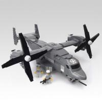 儿童鱼鹰战机反恐特警军事拼装模型人仔飞机玩具积木拼插开脑洞组装男孩礼物 鱼鹰战机