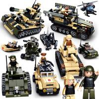 小鲁班积木儿童拼装玩具坦克组装8-14岁以上男孩拼插军事积木