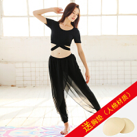 瑜伽服套装秋冬季女显瘦瑜珈服棉健身愈加舞蹈服 款 短袖黑+黑 送XD