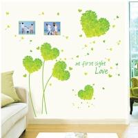 粉色爱心花球墙贴纸卧室浪漫温馨婚房装饰布置 花卉可移除墙贴画 大