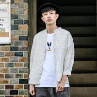 衣柜男装日系男士衬衫韩版潮流条纹衬衣外套长袖情侣衣服