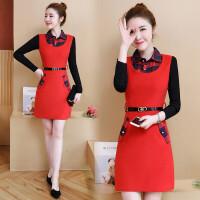 毛呢连衣裙女秋冬款新款长袖中长款假两件加厚保暖时尚打底裙 红色 收藏下单送腰带