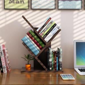 书架 家用书房桌上个性树形小书架办公桌面多层木质架子学生现代简约落地小书柜