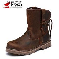 秋冬男靴马丁靴男户外军靴情侣鞋英伦短靴中筒靴工装靴 棕色男女款