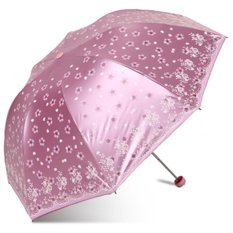 天堂伞33397E落花时节全遮光丝光绒彩胶遮阳伞三折叠晴雨伞防晒伞