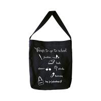 字母文艺帆布单肩包女学院风休闲百搭学生手提帆布袋 黑色