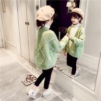 女童毛衣2020新款韩版春装外套儿童大童宽松春秋针织粗线开衫洋气