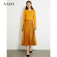 Amii�O�法式半身裙2020秋新款百褶A字裙女中�L款�@瘦赫本�L裙子