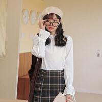 【5.8-5.9抢购价:123元】木耳边白色雪纺衫2020年冬季新款女装韩版宽松复古喇叭袖上衣小衫