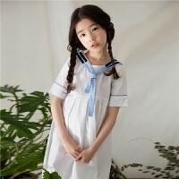 2018夏季韩版童装纯棉女童短袖连衣裙中大童海军风百褶裙学院风裙