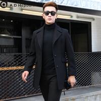 定制男士羊绒呢子毛呢大衣男中长款潮青年韩版修身冬季英伦风帅气 黑色 S