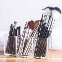透明眼线笔化妆刷具桶化妆刷筒化妆品桌面收纳盒眉笔唇彩整理盒笔筒 透明