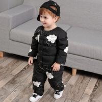 反季儿童羽绒服套装1-3岁男童女童宝宝羽绒内胆轻薄保暖冬装 云朵黑色套装上衣+裤子