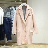 毛呢大衣冬装新款 西装领中长款显瘦呢子外套 撤柜女装