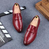 时尚夜店男皮鞋红色尖头套脚婚鞋青春潮流英伦风小皮鞋男青年个性