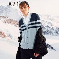 A21以纯线上品牌2017秋冬新品假两件V领开衫男 学院风条纹毛衣男4741215000