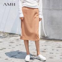 【618大促-每满100减50】Amii[极简主义]简洁型格 休闲半身裙 冬季时尚帅气开叉毛呢中长裙
