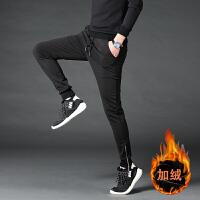 裤子男韩版潮流冬季紧身卫裤瘦腿哈伦裤加绒束脚休闲裤加厚运动裤 M 28.29