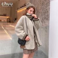 chuu女士仿皮草外套冬季羊羔毛短款2019年冬季东大门韩国潮款加厚