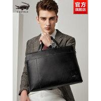 鳄鱼男士公文包真皮横款包包手拿牛皮包商务单肩斜挎包休闲手提包