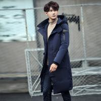冬季长款羽绒服男长过膝韩版修身加厚加长连帽羽绒风衣青年外套男