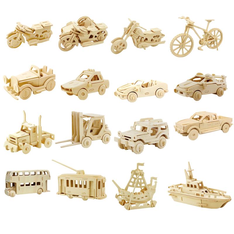儿童玩具小汽车模型 仿真公交车木质立体拼图车模迷你