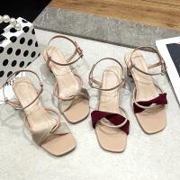 网红凉鞋女夏时尚新款复古细带粗跟高跟鞋ins一字扣带晚晚鞋