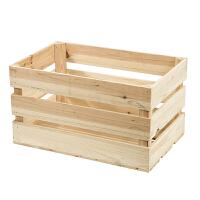 复古木箱储物箱定制实木收纳箱橱窗装饰摆件道具超市陈列小木箱子 三层 50*32*28cm