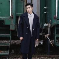 羊毛大衣男冬装中长款过膝呢子外套韩版宽松潮流羊绒加厚毛呢风衣