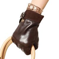 潮流新款女士羊皮手套时尚大气户外保暖蝴蝶结真皮手套 可礼品卡支付