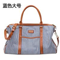 轻便短途手提旅行包女旅游袋单肩衣服行李包韩版帆布运动健身休闲 蓝白 升级版号