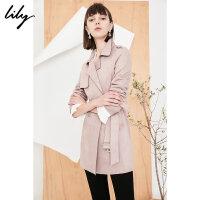 Lily2018春新款风衣女装商务通勤基础款风衣纯色系带风衣118110C1613