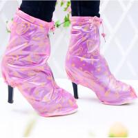 雨易思 夏季男女款便携防水防雨加厚鞋套 中帮平跟高跟下雨鞋套