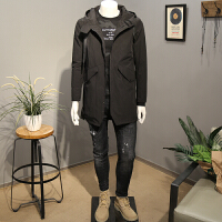 秋季新款风衣男时尚连帽外套修身显瘦型男秋装中长款上衣