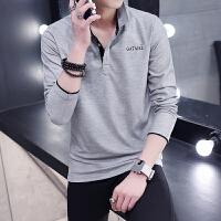 韩观秋季男士薄款T恤长袖衬衫带领子衣服男装青年翻领打底polo衫 XL 【建议115-130斤】