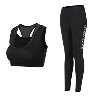 瑜伽服套装女专业运动健身房运动背心带胸垫性感健身服潮 黑色 背心+裤子