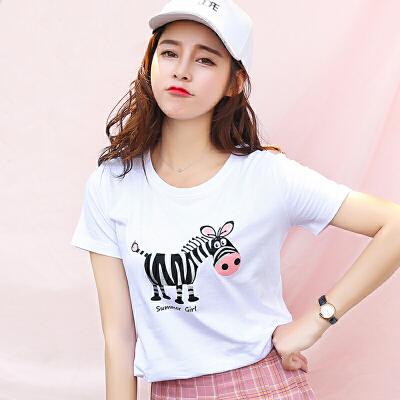 夏季新品韩版宽松百搭圆领棉短袖T恤女装印花动物图案小衫