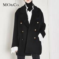 MOCO双排扣加厚毛呢大衣女复古小香风外套MA174COT111 摩安珂